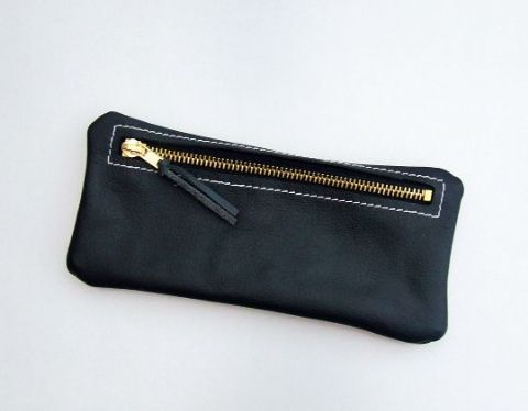 Real leather pencil case - Black